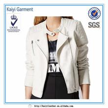Wholesale Beige white leather jacket garment buying agents
