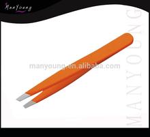 Slant Tip Stainless Steel Lady Eyebrow Tweezers / Manicure Instruments