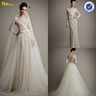 WD-056 Elegant Sheath V Neck Long Sleeve Lace Wedding Gown With Detachable Skirt