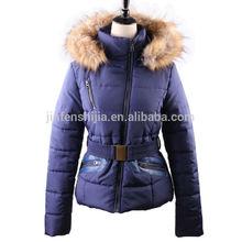 New design women winter jacket with belt