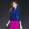Hot sale cotton satin three quarter sleeve short pleats please ladies winter coats