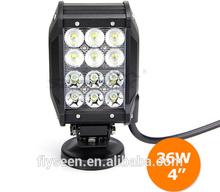 PC lens four row led alloy work light bar flood spot 36w led offroad light bar Quad Row Led Light Bar 36W