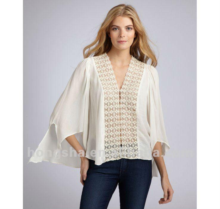 Modelos de moda corte de la blusa blanca larga manga mujeres blusa de gasa HSB024