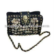 Skull Stud Black Leather Clutch Bag