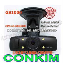 1080P Full HD Car DVR With GPS &G-SENSOR Ambarella CPU GS1000