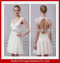 WD-1635 Fancy short cap sleeves sweetheart lace open back wedding dress lace wedding dresses with keyhole back