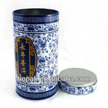 custom printed round tea tin can with airtight lid