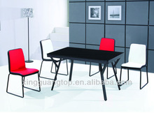 American standard powder coating leg and glass top casual dining room table