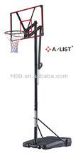 Portable adjustable basketball stand with basketball poles and fiberglass basketball backboard