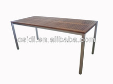 OP-T08 Rectangular stainless steel teak dining table
