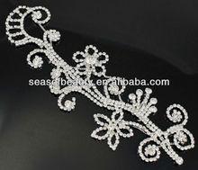 Sparkling Floral Silver Crystal Clear Glass Rhinestone Applique Bridal Sewing