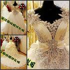 Alibaba Wholesale Dropship Crystal Luxury 2014 Bowtie Bridal Muslim Wedding Gown With Train White Beaded Wedding Dress