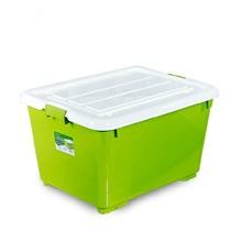 Chahua High Quality 60L~120L Plactic PP storage box with lid wheels Plastic Storage Bins Bright Color Glove Box