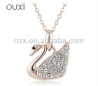 Gold jewellery made with Austrian crystal beautiful swan pendant 10194