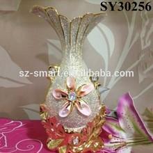 With golden flower tall ceramic floor vases