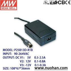 Meanwell 25W AC-DC Desktop switching power supply 5v 12v -12v
