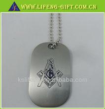 Custom aluminum masonic dog tag with ball chain