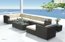 2012 Hot Sale Elegant Outdoor Rattan Furniture / 100% New PE Rattan Sofa Set (FWC-211)