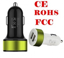 Newest 2 port 1.0-2.1A USB Car Charger, for iphone 6 samsung portable charger, car charger