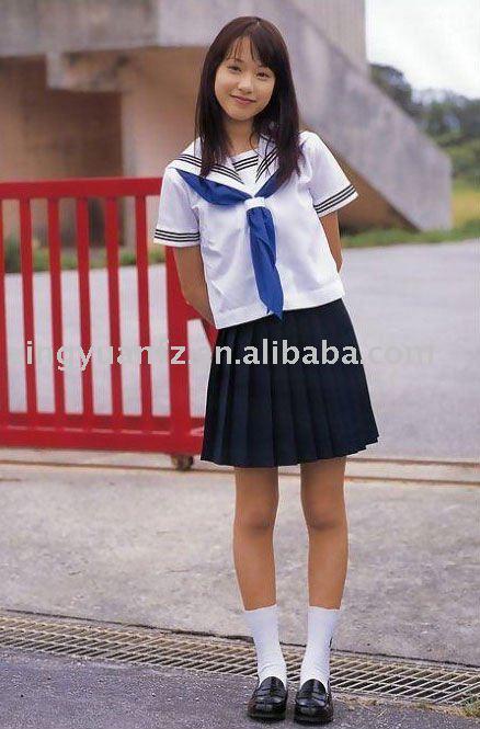 ... blanche et noire jupe plissée pour milieu scolaire uniforme fille