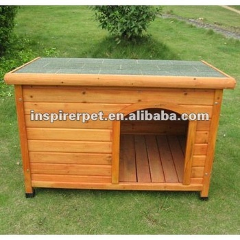 Log Cabin Dog House Pet Wood House Kennel with flat roof