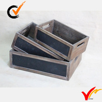 small recycled antique set 3 chalkboard distressed wood storage box