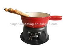 cast iron enamel cheese fondue set