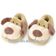 Fluffy plush animal dog shape kids slipper, plush animal toy kids indoor shoes
