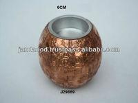 Copper sheet T light holder with Embossed floral patterns
