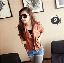 2014 Fashion Women Ladies PU Leather Short Motorcycle Jacket Coat Outerwear Slim Fit Rivet Vintage coat free shipping C092(China (Mainland))