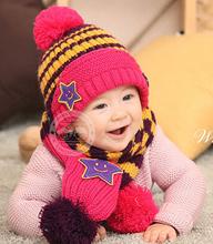 2014 Fashion New Winter 5-Star Children Skullies & Beanies Scarf Hat Set Baby Boys Girls Knitted kids Hats & Caps Free shipping(China (Mainland))