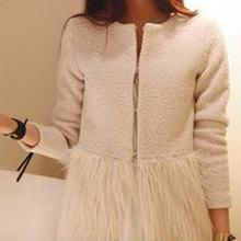 Hot ! 2014 New Brand Warm Faux Fur wool Blend Hem Stitching Plush O-Neck Winter Coat  For Women,Tops Outerwear Women's Clothing(China (Mainland))
