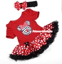 Xmas Red Baby Jumpsuit Minnie Dots Pettiskirt & Headband Set NB-18Month MAJS0019(Hong Kong)