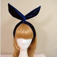 Hot sale New Arrival Fashion Velvet Gold Velvet DIY Rabbit Ears Hairbands Bow Iron Wire Headbands Women Accessories(China (Mainland))