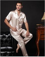 China Hot Selling 2014 Luxury Male silk sleepwear twinset men long-sleeve or short-sleeve silk pajamas plus size lounge (China (Mainland))