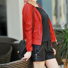 2014 Autumn Plus Size New Style Women's Second Layer Sheepskin Leather Jacket Women Slim Short Design Jackets Free Shipping(China (Mainland))