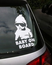 Small Size Cool Baby on Board Car Sticker Waterproof Reflective Car Decal On Rear Windshield X1169(China (Mainland))