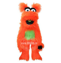 Plush Puppet Toy Big Orange Monster Hand Puppets Move Mouth With Voice Ventriloquism Hand Puppets Hallowee Gift NEW n Shipping(China (Mainland))