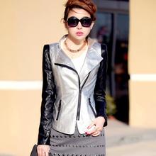 2014 new spring and autumn in large sizes 4XL short paragraph Slim leather jacket woman jacket lady leather jacket  white girl(China (Mainland))