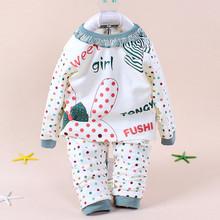 2014 New Autumn Baby Girl Pajamas 100% Cotton Baby Clothes Underwear Kids Sleepwear Atacado Roupas Bebe Retail Free Shipping(China (Mainland))