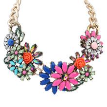 2014  statement necklace women  brand Resin rhinestone necklace & pendant   long necklace jewelry wholesale(China (Mainland))