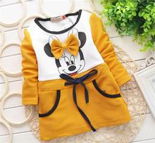 2014 Autumn girls dress baby girls Minnie Mouse New Kids bottoming shirt long sleeve t-shirt 0-2 years rose red(China (Mainland))