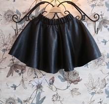 free shipping roupa infantil feminina NEW 2014 autumn winter fashion faux leather black pu A-line children tutu skirts girls(China (Mainland))