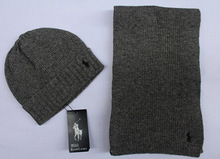 free shipping Polo scarf hat two-piece fashionable men and women the winter (China (Mainland))