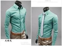 Wholesale new 2014 Mens Slim fit Unique neckline stylish Dress long Sleeve Shirts Mens dress shirts 17colors ,size: M-XXXL H001(China (Mainland))