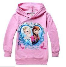 New Girl Kids Frozen Queen Elsa Anna Hooded Long Sleeve Top T-shirt Hoodies3-8Y(China (Mainland))