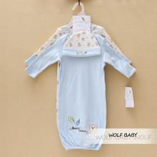Retail 3pcs/set 0-6months 2 sleepwears+1 hat cap newborn baby kids children girls boys infant spring autumn fall(China (Mainland))
