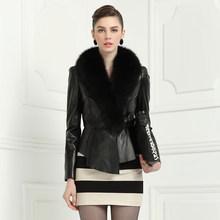 2015 Europe Style Women Natural Fluffy Fox Fur Collar Genuine Leather Short Jacket Slim Fit Classic Sheepskin Female Fall Coat(China (Mainland))