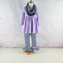 New Kids striped 3pcs long sleeve ruffled pants sets Ruffle dress top & pants clothing sets autumn winter baby girl pants sets(China (Mainland))