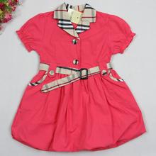 New baby girl dress plaid princess party dress for girls babi girl summer dresses children's clothing kid dresses for girl(China (Mainland))